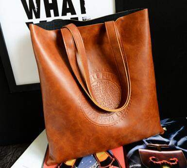 Fashion portable big letters vertical section embossed handbags quality pu leather women bag retro shoulder bag large capacity