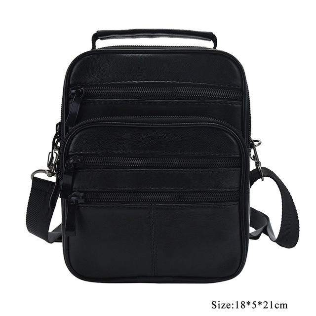 New Genuine Leather Crossbody Bag for Men Phone Purse Casual Portfolio Flap Sac Zipper Solid Male Shoulder Messenger Bags Bolsa - successmall