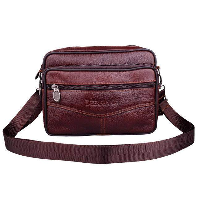 Multifunction Leather Mens Shoulder Bag Real Genuine Leather Men Business Bags European Style Casual Male Messenger Bag - successmall