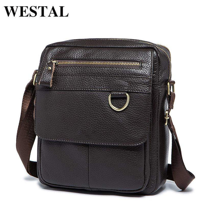 WESTAL Genuine Leather Men Bag Fashion Male Messenger Bags Men's Small Briefcase Man Casual Crossbody Shoulder Handbag 8088 - successmall