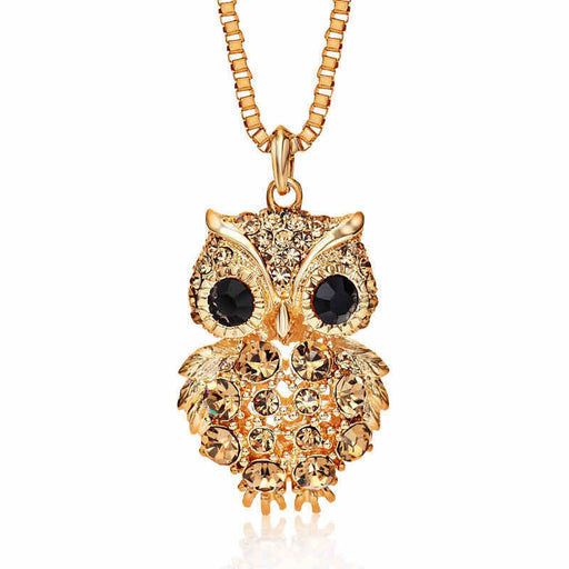 Retro Antique Alloy with Rhinestone Crystal Owl Long Necklace GD - successmall