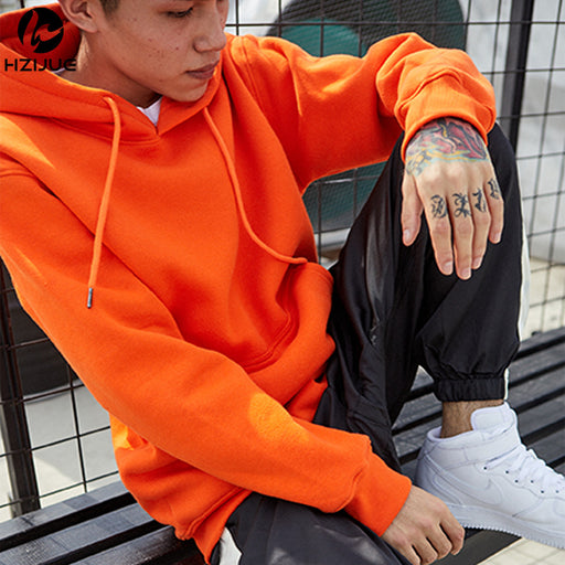 Fashion Color Hooides Men's Thick Clothes Winter Sweatshirts Men Hip Hop Streetwear Solid Fleece Hoody Man Clothing USA SIZE - successmall