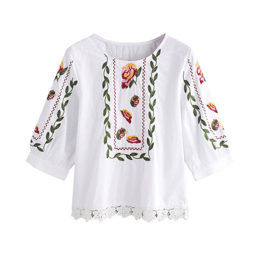 Women Lace Floral Flower Printed Blouse Casual Tops Loose T-Shirt - successmall