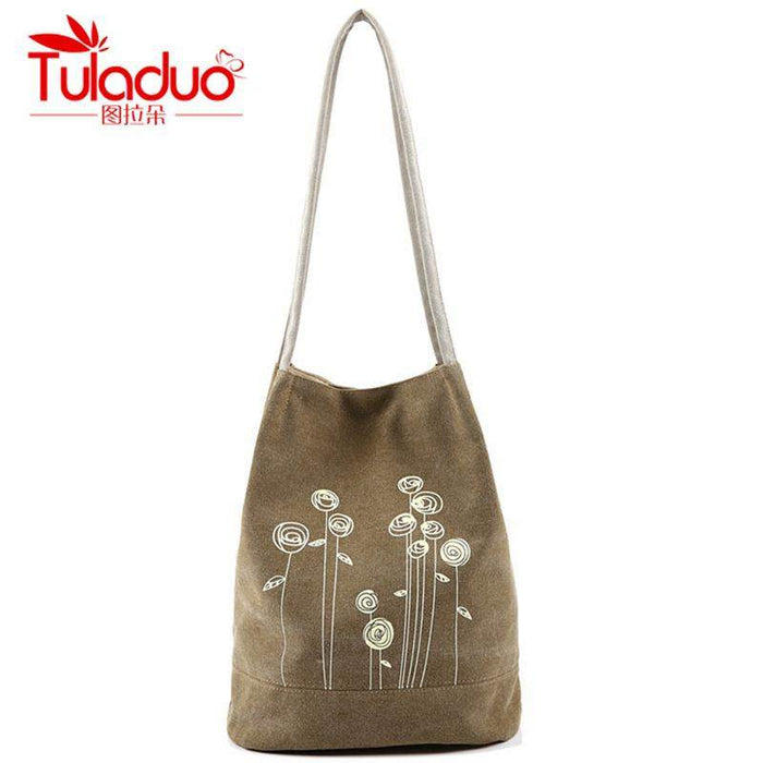 New Hot Women's Shoulder Handbag Female Canvas Tote Bag Floral Print Beach Bags For Girls Good Quality Handbag Bolsa Feminina - successmall