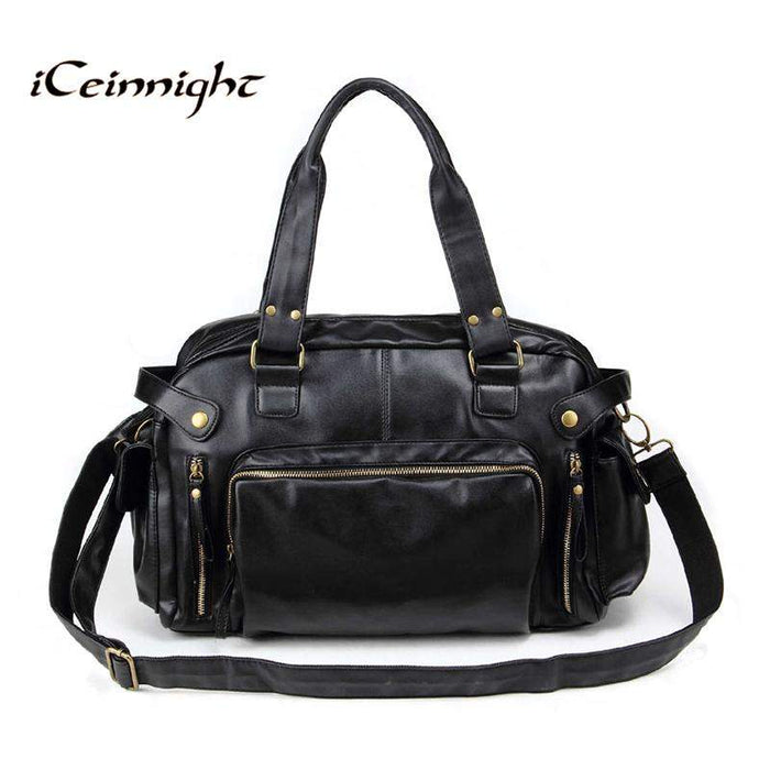 iCeinnight Vintage men messenger bags high quality soft pu leather solid hand bags large capacity travel Bags handsome man - successmall