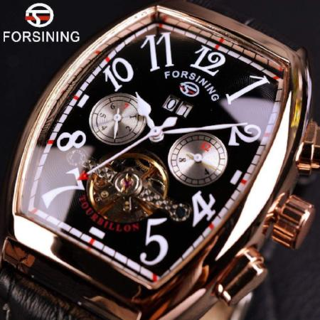 Forsining Date Month Display Rose Gold Case Mens Watches Top Brand Luxury Automatic Watch Montre Homme Clock Men Casual Watch - successmall