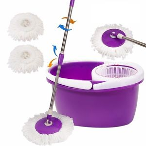 <p>Rebate Points = 0.82  <br /></p> Microfiber Spinning Magic Spin Mop W/Bucket 2 Heads Rotating 360° - successmall