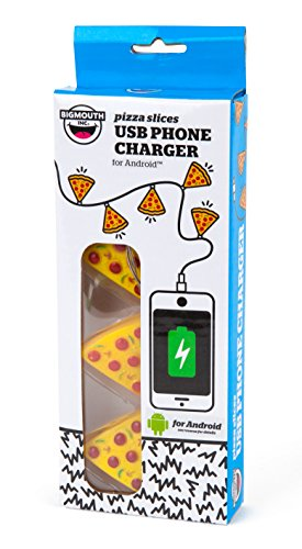BigMouth Inc Pizza Slices USB Phone Charger for Android, Slices Light Up When Charging, Novelty Phone Charge Cord