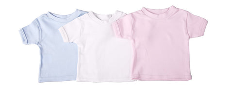Baby Blanks - Crew Neck T Shirt Short Sleeve (  6 Pack ) - Little Lumps Baby Clothing Online