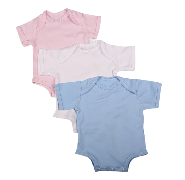 2-Pack Blank Baby Onesies With Short Sleeves 100% Cotton Mixed Colours - Little Lumps