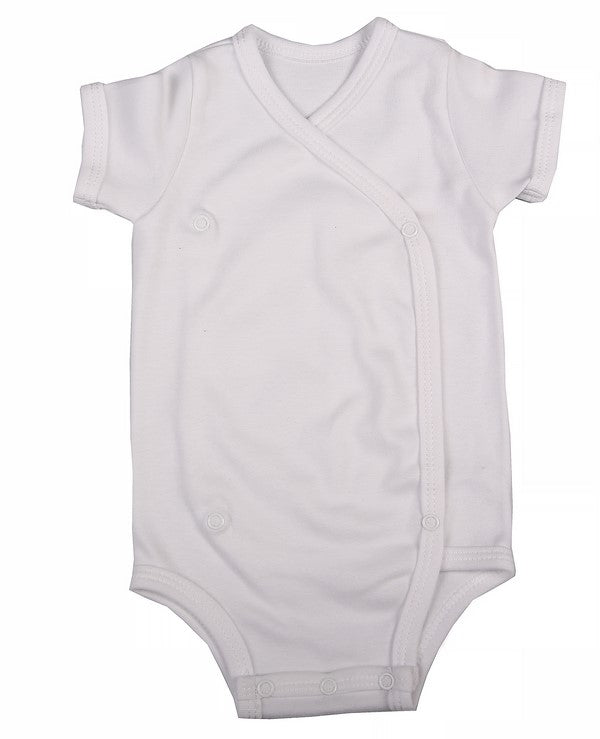 3d3a35539 ... Plain-Coloured Crossover Baby Onesie With Short Sleeves (6 Pack) -  Little Lumps ...