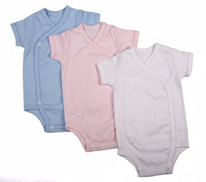 Plain-Coloured Crossover Baby Onesie With Short Sleeves - Little Lumps
