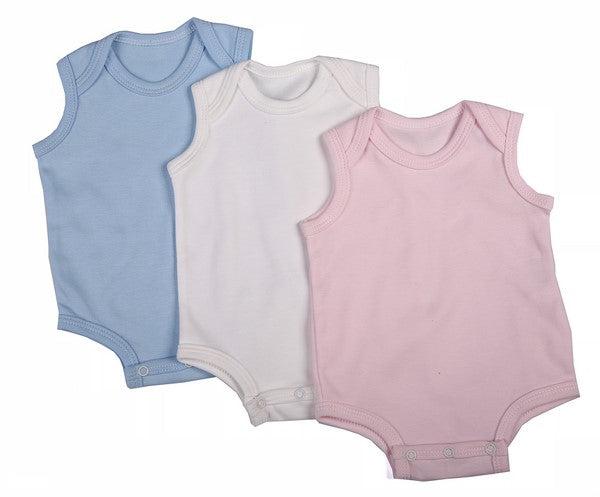 6-Pack Sleeveless Baby Onesies In Blank Colours 100% Cotton - Little Lumps