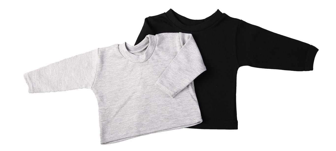 Blank Long-Sleeved Baby Crew Neck T-Shirts (2-Pack mixed colours) - Little Lumps Baby Clothing Online