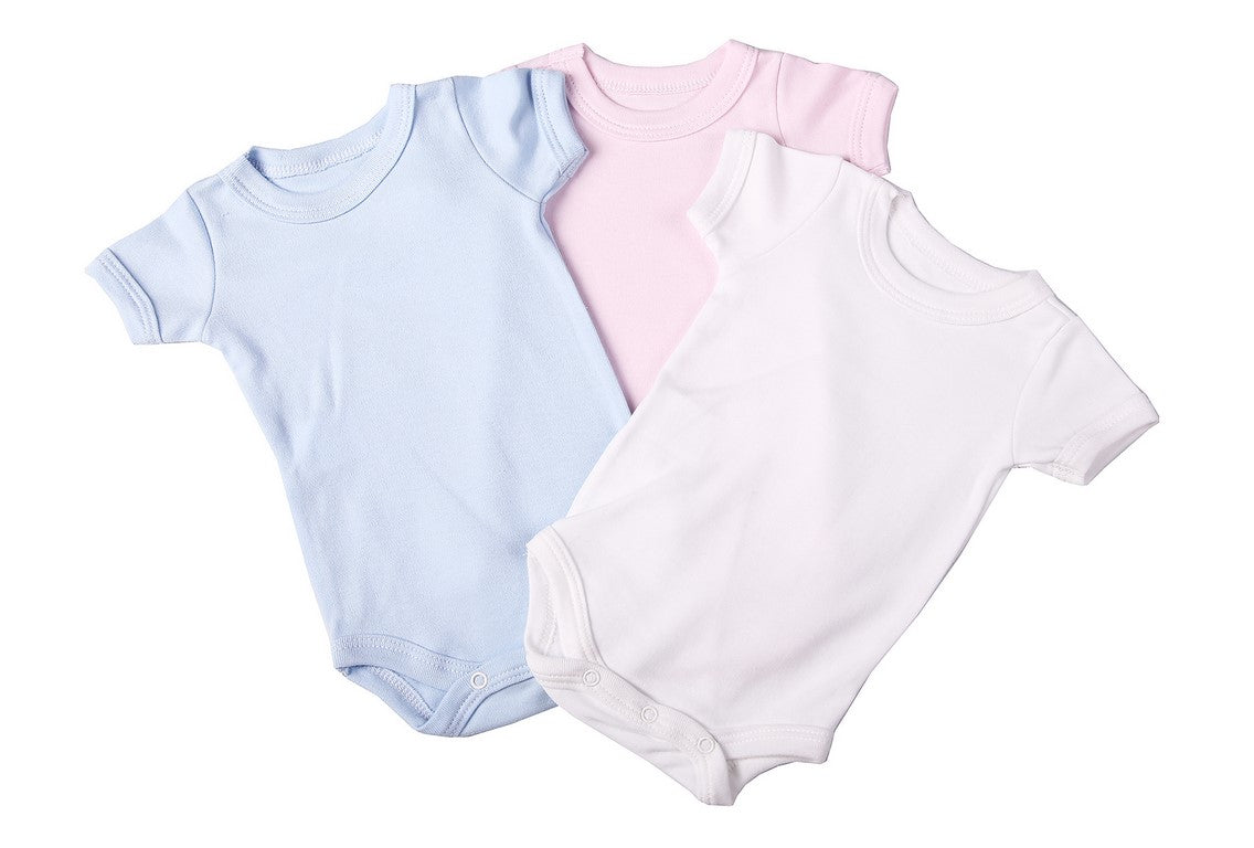 Baby Blanks - Crew neck onesie short sleeve (2 Pack mixed colours) - Little Lumps Baby Clothing Online