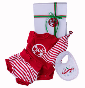 Christmas Baby Gift Set  - Personalised Box with onesie,hat,bib and shorts