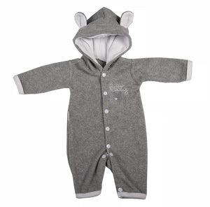Cute Grey Polar Fleece Babygro Jumpsuit - Little Lumps Baby Clothing Online