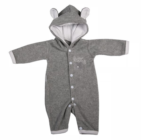 Cute Baby Grey Polar Fleece Babygro Jumpsuit - Little Lumps