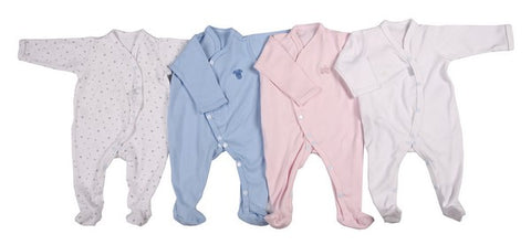 Long-Sleeved Babygro With Overlap Front Fastener - Little Lumps