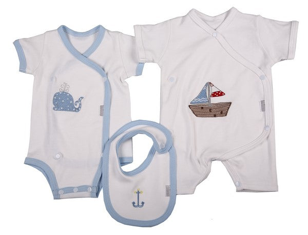 Two Pack Babygro with Bib for Boys