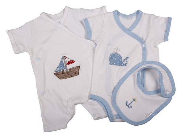 Two Pack Babygro with Bib for Boys - Little Lumps