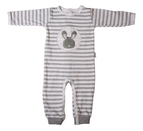 Grey And White Striped Babygro With Bunny Embroidery - Little Lumps