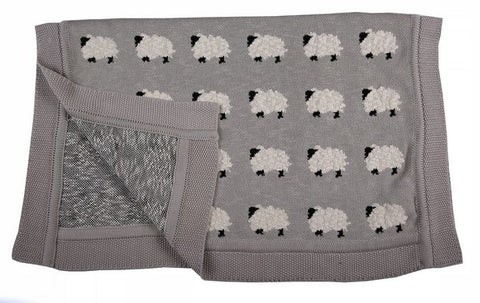 Knitted Blanket - Sheep - Little Lumps Baby Clothing Online