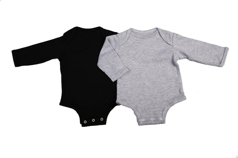 Baby Blanks - Onesie Long Sleeve (2 pack or 6 Pack ) Black/Grey/Pink/White/Blue