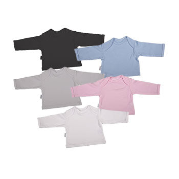 Blank Long-Sleeved Baby T-Shirt With Envelope Neckline (2-Pack mixed colours) - Little Lumps Baby Clothing Online