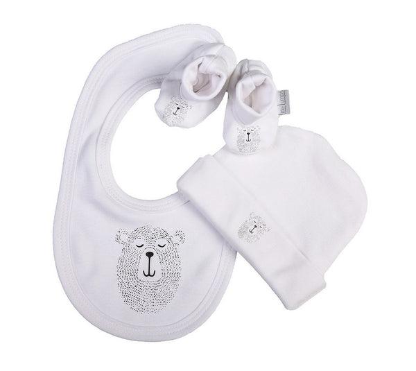 Baby Bear Hat Shoes And Bib Set - Little Lumps