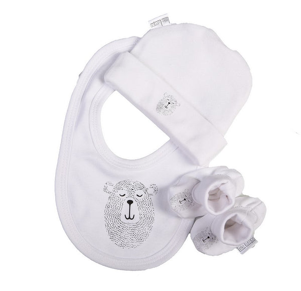 Baby Bear Hat Shoes And Bib Set - Little Lumps Baby Clothing Online