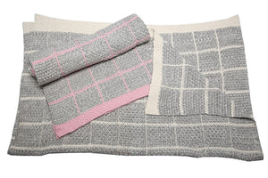 Knitted Blanket - Grey & Pink - Little Lumps Baby Clothing Online