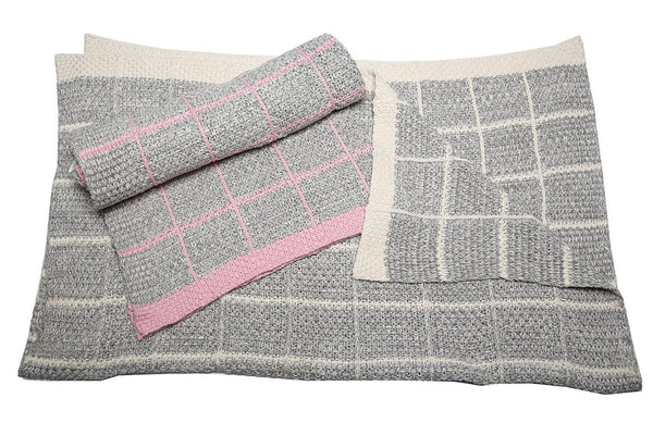Knitted Baby Blanket - Grey & Pink - Little Lumps