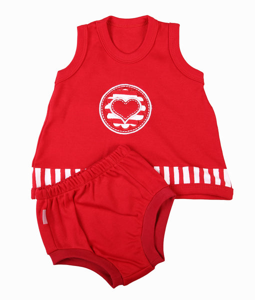 Red Baby Pinny & Panty Set - Little Lumps