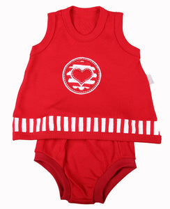 Red Baby Pinny & Panty Set