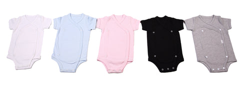 2-Pack 100% Cotton Mixed Colours Crossover Baby Onesies s/sleeve - Little Lumps