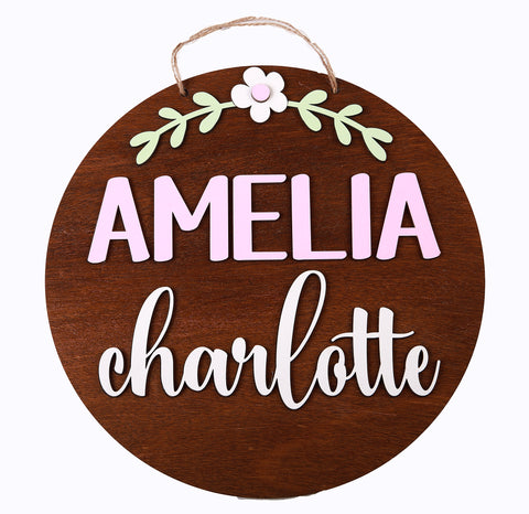 Round Name Plaque - flowers - Little Lumps