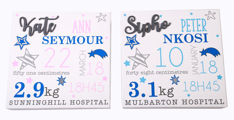 Baby Birth Stats Canvas - Stars - Little Lumps