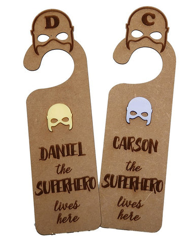 "Personalised ""Superhero lives here"" Door Hanger"