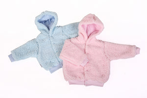 Hooded Furry Baby Jackets In Pink Or Blue - Little Lumps