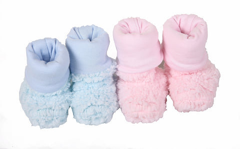 Furry Baby Slouch Boots In Pink Or Blue - Little Lumps