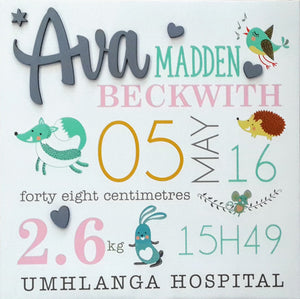 Baby Birth Stats Canvas - Forest Theme - Little Lumps