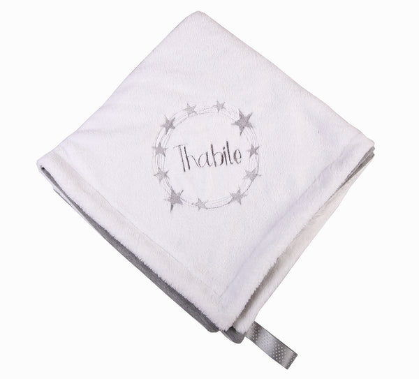 Personalised Baby Blanket with Star Circle embroidery - Little Lumps