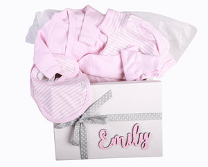 Gift Set 3 - Personalised Box with jacket,onesie,leggings and bib - Little Lumps Baby Clothing Online