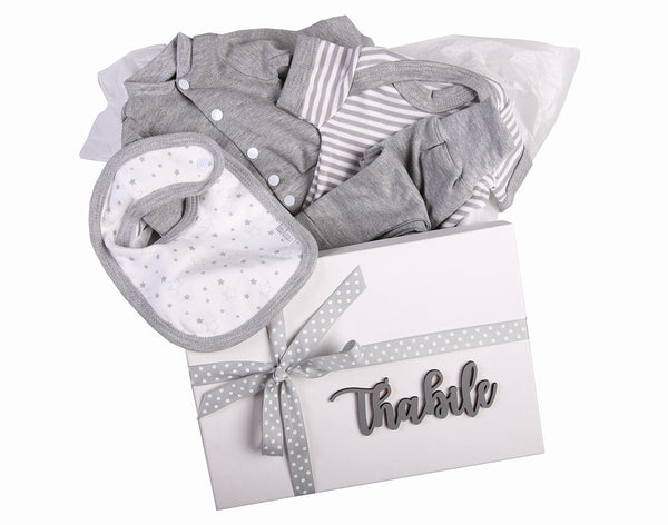 Baby Gift Set 3 - Personalised Box with jacket,onesie,leggings and bib - Little Lumps
