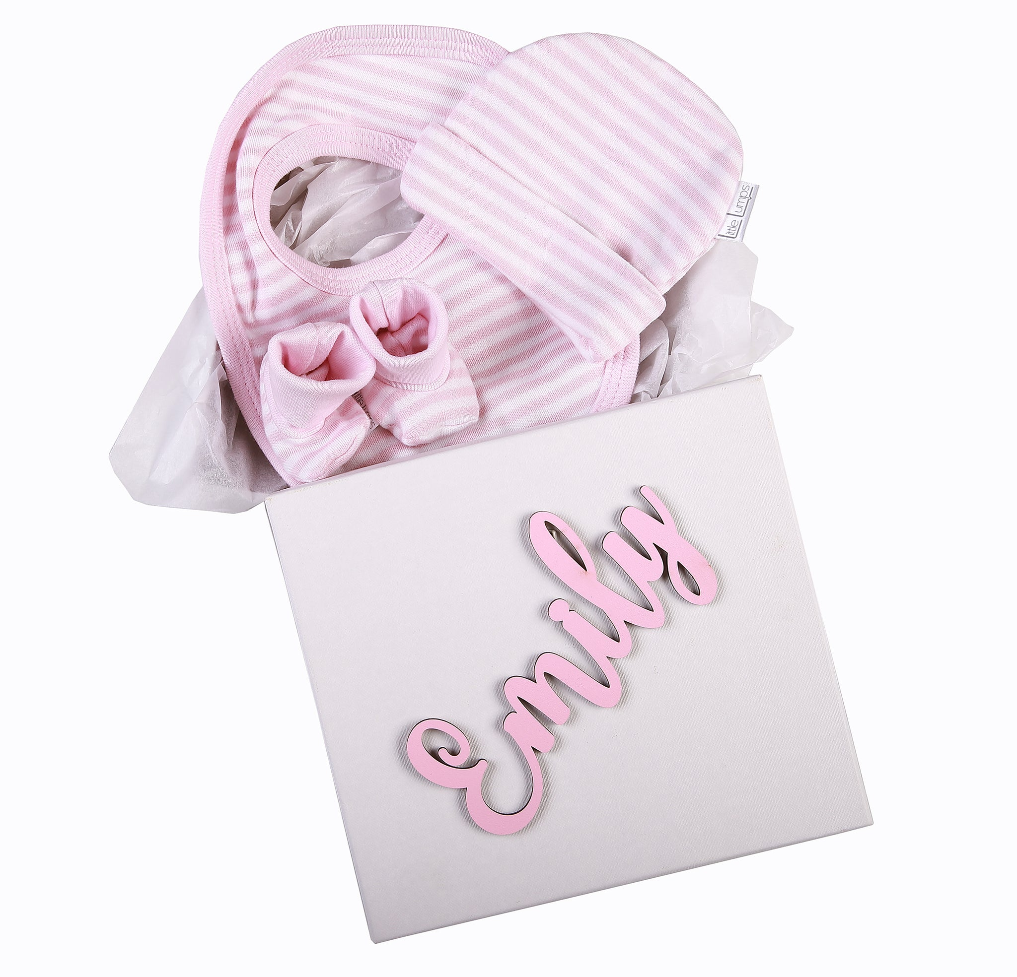 Gift Set 2 - Personalised Box with hat,bib and booties - Little Lumps Baby Clothing Online
