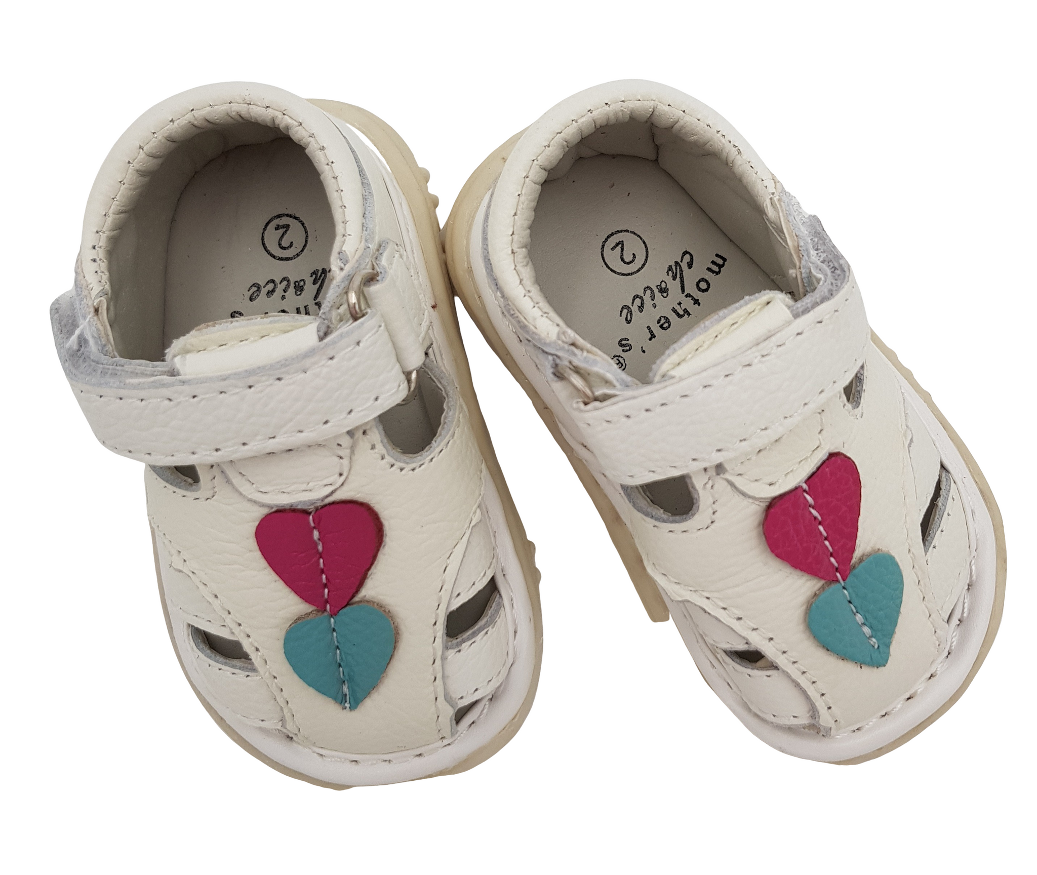 Baby White Leather Sandals with heart detail