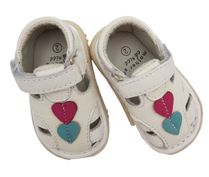 Baby White Leather Sandals with heart detail - Little Lumps