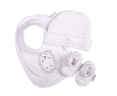 Hedgehog Bib, Shoes & Hat set - Little Lumps Baby Clothing Online