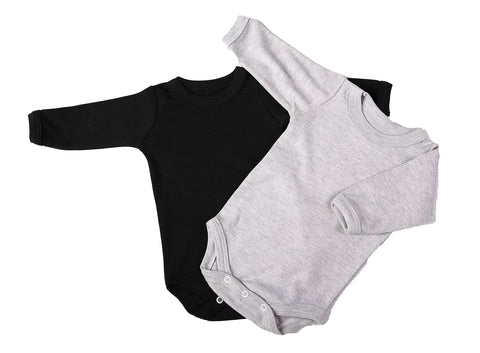 Baby Blanks - Crew Neck Onesie long sleeve (2 pack or 6 pack) white/pink/blue/grey/black - Little Lumps Baby Clothing Online
